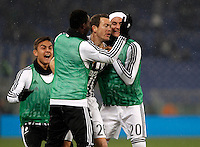 Calcio, quarti di finale di Coppa Italia: Lazio vs Juventus. Roma, stadio Olimpico, 20 gennaio 2016.<br /> Juventus' Stephan Lichsteiner, second from right, celebrates with teammates, from left, Paulo Dybala, Kwadwo Asamoah and Simone Padoin after scoring during the Italian Cup quarter final football match between Lazio and Juventus at Rome's Olympic stadium, 20 January 2016.<br /> UPDATE IMAGES PRESS/Isabella Bonotto