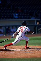 Mesa Solar Sox designated hitter Victor Robles (14), of the Washington Nationals organization, hits a home run over the left field wall during an Arizona Fall League game against the Scottsdale Scorpions on October 24, 2017 at Sloan Park in Mesa, Arizona. The Scorpions defeated the Solar Sox 3-1. (Zachary Lucy/Four Seam Images)