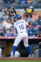 J.P. Arencibia (16) of the Durham Bulls at bat against the Scranton/Wilkes-Barre RailRiders at Durham Bulls Athletic Park on May 15, 2015 in Durham, North Carolina.  The RailRiders defeated the Bulls 8-4 in 11 innings.  (Brian Westerholt/Four Seam Images)