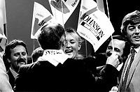 FILE PHOTO : Pauline Marois<br />  AprËs la Victoire de Pierre-Marc Johnson lors du vote final de la course ‡ la chefferie du Parti QuÈbÈcois, le 29 septembre 1985<br /> <br /> PHOTO : Denis Alix -  Agence Quebec Presse