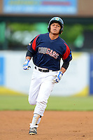 Kane County Cougars second baseman Gioskar Amaya #13 rounds the bases after hitting a home run during a game against the Beloit Snappers May 26, 2013 at Fifth Third Bank Ballpark in Geneva, Illinois.  Beloit defeated Kane County 6-5.  (Mike Janes/Four Seam Images)