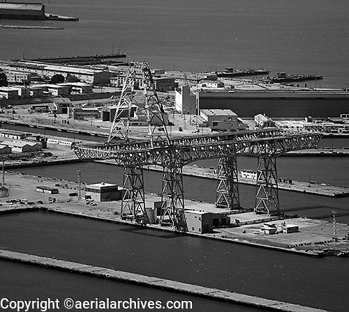 Aerial photograph large crane Hunters Point San Francisco California
