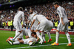 Real Madrid's Chicharito cerebrates a goal (1-0) with his team mates during quarterfinal second leg Champions League soccer match against Atletico de Madrid at Santiago Bernabeu stadium in Madrid, Spain. April 22, 2015. (ALTERPHOTOS/Victor Blanco)