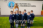 BallyLongford NS: Mrs Dee with  her Junior infants class at St Oliver's NS, Ballylongford on their first day of class