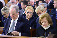 Former Quebec premier Pauline Marois and her husband Claude Blanchet (second row) and former Quebec premier Daniel Johnson and Lisette Lapointe, widow of former premier Jacques Parizeau, attend the funeral of former Quebec premier Bernard Landry at Notre-Dame Basilica  in Montreal on Tuesday, November 13, 2018. THE CANADIAN PRESS/Paul Chiasson