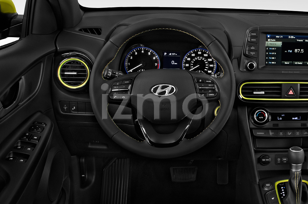 Car pictures of steering wheel view of a 2018 Hyundai Kona Limited 5 Door SUV Steering Wheel