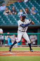 Mississippi Braves left fielder Jared James (19) at bat during a game against the Montgomery Biscuits on April 26, 2017 at Montgomery Riverwalk Stadium in Montgomery, Alabama.  Montgomery defeated Mississippi 5-2.  (Mike Janes/Four Seam Images)