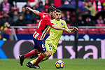 Jorge Resurreccion Merodio, Koke (L), of Atletico de Madrid fights for the ball with Mauro Wilney Arambarri Rosa of Getafe CF during the La Liga 2017-18 match between Atletico de Madrid and Getafe CF at Wanda Metropolitano on January 06 2018 in Madrid, Spain. Photo by Diego Gonzalez / Power Sport Images