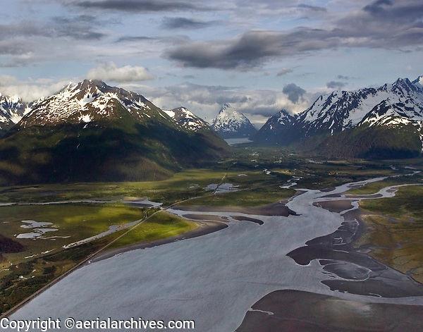 aerial photograph of Turnagain Arm, Alaska toward Portage Lake visible in the background