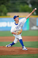 Burlington Royals starting pitcher Garrett Davila (19) delivers a pitch to the plate against the Kingsport Mets at Burlington Athletic Stadium on July 18, 2016 in Burlington, North Carolina.  The Royals defeated the Mets 8-2.  (Brian Westerholt/Four Seam Images)