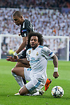 Real Madrid Marcelo and PSG Kylian Mbappe during Eight Finals Champions League match between Real Madrid and PSG at Santiago Bernabeu Stadium in Madrid , Spain. February 14, 2018. (ALTERPHOTOS/Borja B.Hojas)