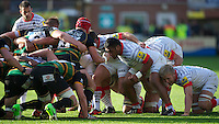 20121027 Copyright onEdition 2012©.Free for editorial use image, please credit: onEdition..Mako Vunipola and Jackson Wray of Saracens scrum down during the Aviva Premiership match between Northampton Saints and Saracens at Franklin's Gardens on Saturday 27th October 2012 (Photo by Rob Munro)..For press contacts contact: Sam Feasey at brandRapport on M: +44 (0)7717 757114 E: SFeasey@brand-rapport.com..If you require a higher resolution image or you have any other onEdition photographic enquiries, please contact onEdition on 0845 900 2 900 or email info@onEdition.com.This image is copyright the onEdition 2012©..This image has been supplied by onEdition and must be credited onEdition. The author is asserting his full Moral rights in relation to the publication of this image. Rights for onward transmission of any image or file is not granted or implied. Changing or deleting Copyright information is illegal as specified in the Copyright, Design and Patents Act 1988. If you are in any way unsure of your right to publish this image please contact onEdition on 0845 900 2 900 or email info@onEdition.com