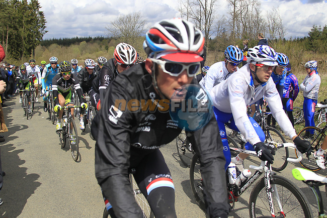 The peloton including Frank Schleck (LUX) Radioshack-Nissan climb Cote de la Roche-en-Ardenne during the 98th edition of Liege-Bastogne-Liege, running 257.5km from Liege to Ans, Belgium. 22nd April 2012.  <br /> (Photo by Eoin Clarke/NEWSFILE).