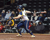 Michigan Wolverines Softball infielder Caitlin Blanchard (44) at bat during a game against the University of South Florida Bulls on February 8, 2014 at the USF Softball Stadium in Tampa, Florida.  Michigan defeated USF 3-2.  (Copyright Mike Janes Photography)