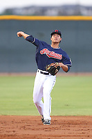 Yu-Cheng Chang #12 of the AZL Indians during a game against the AZL Angels at the Cleveland Indians Spring Training Complex on July 13, 2014 in Goodyear, Arizona. AZL Angels defeated the AZL Indians, 6-5. (Larry Goren/Four Seam Images)