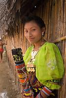 Young kuna girl with traditional face tattoos, Comarca De Kuna Yala, San Blas Islands, Panama