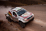 Car racer Marco Bulacia from Bolivia driving his Toyota truck during the 5th stage of the Dakar Rally 2016 in the Bolivian Altiplano.