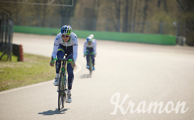 'F1 pilot' Jens Keukeleire (BEL/Orica-GreenEDGE)<br /> <br /> training/coffee ride with Team Orica-GreenEDGE at the Monza F1 Race Circuit 1 day before Milan-San Remo