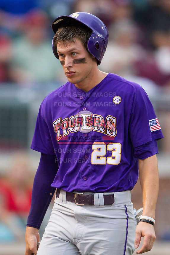 LSU Tigers second baseman Jacoby Jones (23) in action against the Texas A&M Aggies in the NCAA Southeastern Conference baseball game on May 10, 2013 at Blue Bell Park in College Station, Texas. LSU defeated Texas A&M 7-4. (Andrew Woolley/Four Seam Images).