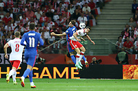 8th September 2021; PGE National Stadium, Warsaw, Poland: FIFA World Cup 2022 Football qualification, Poland versus England;  JOHN STONES and ROBERT LEWANDOWSKI
