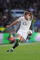 Owen Farrell of England kicks a penalty attempt during the Old Mutual Wealth Series match between England and Australia at Twickenham Stadium on Saturday 3rd December 2016 (Photo by Rob Munro)