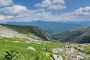 Mount Washington - Hikers on Tuckerman Ravine Trail in the White Mountains of New Hampshire USA.