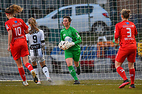 goalkeeper Willeke Willems (1) of Woluwe pictured during a female soccer game between FC Femina White Star Woluwe and Sporting Charleroi on the 2nd matchday of Play off 2 in  the 2020 - 2021 season of Belgian Scooore Womens Super League , friday 16 th of April 2021  in Woluwe , Belgium . PHOTO SPORTPIX.BE   SPP   STIJN AUDOOREN