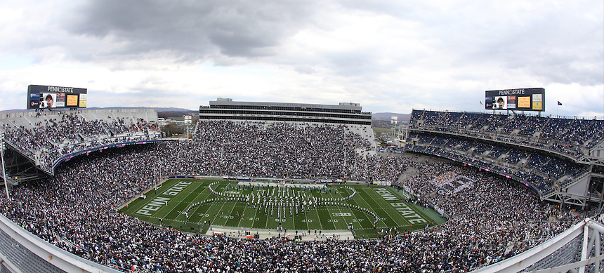 State College, PA - 11/02/2013:  The Penn State Marching Blue Band performs at halftime.  Penn State defeated Illinois by a score of 24-17 in overtime on Saturday, November 2, 2013, at Beaver Stadium.<br /> <br /> Photos by Joe Rokita / JoeRokita.com