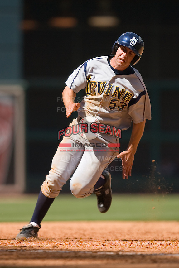Tony Asaro #53 of the UC-Irvine Anteaters rounds third base versus the Houston Cougars in the 2009 Houston College Classic at Minute Maid Park February 28, 2009 in Houston, TX.  The Anteaters defeated the Cougars 13-7. (Photo by Brian Westerholt / Four Seam Images)