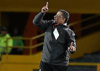 BOGOTA - COLOMBIA -30 -07-2016: Pedro Sarmiento técnico de Rionegro Águilas gesticula durante partido con Millonarios por la fecha 6 de la Liga Aguila II 2016 jugado en el estadio Nemesio Camacho El Campin de la ciudad de Bogota./ Pedro Sarmiento coach of Rionegro Aguilas gestures during match against Millonarios match for the date 6 of the Liga Aguila II 2016 played at the Nemesio Camacho El Campin Stadium in Bogota city. Photo: VizzorImage / Gabriel Aponte / Staff.