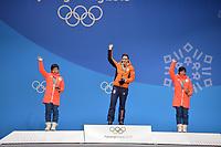 OLYMPIC GAMES: PYEONGCHANG: 15-02-2018, Medals Plaza, Victories Ceremony, Podium 1000m Ladies Long Track Speed Skating, Nao Kodaira (JPN), Jorien ter Mors (NED), Miho Takagi (JPN), ©photo Martin de Jong