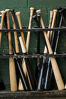 Baseball bats sit in the bat rack in the Kannapolis Intimidators dugout during the South Atlantic League game against the Greenville Drive at CMC-Northeast Stadium on June 29, 2013 in Kannapolis, North Carolina.  The Drive defeated the Intimidators 5-3.   (Brian Westerholt/Four Seam Images)