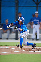 Toronto Blue Jays center fielder Steward Berroa (14) bunts during an Instructional League game against the Pittsburgh Pirates on October 14, 2017 at the Englebert Complex in Dunedin, Florida.  (Mike Janes/Four Seam Images)