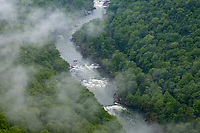 New River Gorge National Park, West Virginia.  New River View from Endless Wall Trail on a Rainy Day.