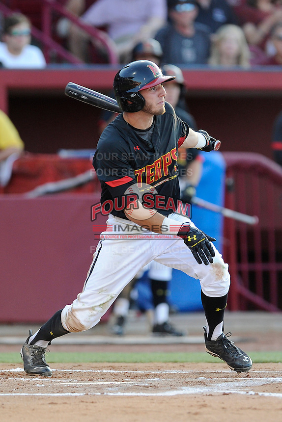 Shortstop Blake Schmit (1) of the Maryland Terrapins in an NCAA Division I Baseball Regional Tournament game against the South Carolina Gamecocks on Sunday, June 1, 2014, at Carolina Stadium in Columbia, South Carolina. Maryland won, 10-1, to win the tournament. (Tom Priddy/Four Seam Images)