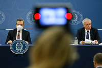 The Italian premier Mario Draghi and the minister of economy Daniele Franco attend a press conference after the minister's cabinet.<br /> Rome (Italy), October 5th 2021<br /> Photo Samantha Zucchi Insidefoto