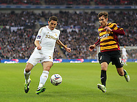 Pictured:  Angel Rangel (L). Sunday 24 February 2013<br /> Re: Capital One Cup football final, Swansea v Bradford at the Wembley Stadium in London.