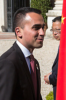 """Luigi Di Maio (Deputy Prime Minister, Minister of Economic development, Labour and Social Policies, and leader of the Five Star Movement).<br /> <br /> Rome, 23/03/2019. The President of the People's Republic of China (General Secretary of the Communist Party of China, and Chairman of the Central Military Commission), Xi Jinping, meets the Italian Prime Minister Giuseppe Conte at Villa Madama during the second day of a three-day State visit to Italy. After the arrival of Xi Jinping greeted with the full honors at the splendid Renaissance Villa designed by Raffaello Sanzio, the Chinese delegation and the Italian delegation led by the Luigi Di Maio (Deputy Prime Minister, Minister of Economic development, Labour and Social Policies, and leader of the Five Star Movement) signed a memorandum of understanding - 29 separate protocols - supporting the """"Belt and Road"""" initiative (part of the """"New Silk Road Project"""") as the first of the Seven major economies in the world. Luigi Di Maio stated that """"the value of individual deals signed amounts to about 2,5 billion euros, with the potential to grow to about 20 billion euros""""."""