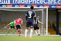 Jason Demetriou, Southend United sends Lewis Ward of Exeter City the wrong way to convert the penalty during Southend United vs Exeter City, Sky Bet EFL League 2 Football at Roots Hall on 10th October 2020