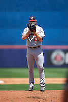 Brevard County Manatees starting pitcher Brandon Woodruff (24) looks in for the sign during a game against the St. Lucie Mets on April 17, 2016 at Tradition Field in Port St. Lucie, Florida.  Brevard County defeated St. Lucie 13-0.  (Mike Janes/Four Seam Images)