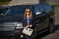 Julie Snyder, fiance of PQ leader Pierre-Karl Peladeau, is seen at a political event for the Chauveau by-election in Lac Beauport, just North of Quebec City, June 4, 2015.<br /> <br /> PHOTO :  Francis Vachon - Agence Quebec Presse