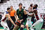 Liga ENDESA 2019/2020. Game: 07.<br /> Club Joventut Badalona vs TD Systems Baskonia: 83-82.<br /> Luca Vildoza, Ante Tomic & Tonye Jekiri.