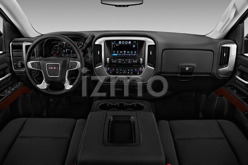 Stock photo of straight dashboard view of 2017 GMC Sierra-1500 Crew-SLE 4 Door Pickup Dashboard