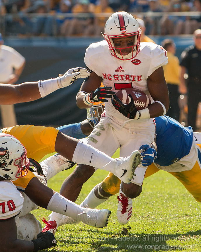 North Carolina State running back Nyheim Hines. The North Carolina Wolfpack defeated the Pitt Panthers 35-17 at Heinz Field, Pittsburgh, PA on October 14, 2017.