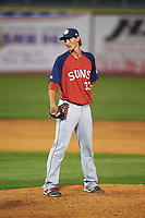 Hagerstown Suns pitcher Brett Mooneyham (33) looks in for the sign during a game against the Lexington Legends on May 22, 2015 at Whitaker Bank Ballpark in Lexington, Kentucky.  Lexington defeated Hagerstown 5-1.  (Mike Janes/Four Seam Images)