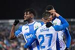 CD Leganes's  Youssef En-Nesyri (R), Chidozie Awaziem (L) and Oscar Rodriguez Arnaiz (C) during La Liga match 2019/2020 round 16<br /> December 8, 2019. <br /> (ALTERPHOTOS/David Jar)