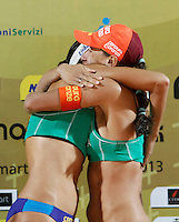 Brazil's  Taiana de Souza Lima, right, and Talita Antunes da Rocha, celebrate at the end of the women's final match between Brazil and United States at the Beach Volleyball World Tour Grand Slam, Foro Italico, Rome, 23 June 2013. Brazil defeated United States 2-1.<br /> UPDATE IMAGES PRESS/Isabella Bonotto