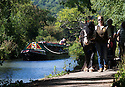29/08/16<br /> <br /> Corinne Rose leads her 14-year-old shire horse, Chelsea, pulling narrow boat 'Birdswood' on a Bank Holiday special along the tow path on the Cromford Canal near Matlock, Derbyshire. The horse drawn voyage through the Derwent Mills Heritage sites is one of only four in the country hauling up to 40 passengers on a full size 72 ft narrowboat.<br /> <br /> All Rights Reserved, F Stop Press Ltd. +44 (0)1773 550665