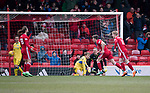 Aberdeen v St Johnstone…31.03.18…  Pittodrie    SPFL<br />Ryan Christie gives Aberdeen the lead<br />Picture by Graeme Hart. <br />Copyright Perthshire Picture Agency<br />Tel: 01738 623350  Mobile: 07990 594431