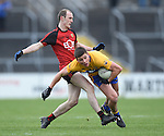 Shay Millar of  Down in action against Liam Markham of Clare during their Division 2, Round 2 National League game at Cusack Park. Photograph by John Kelly.